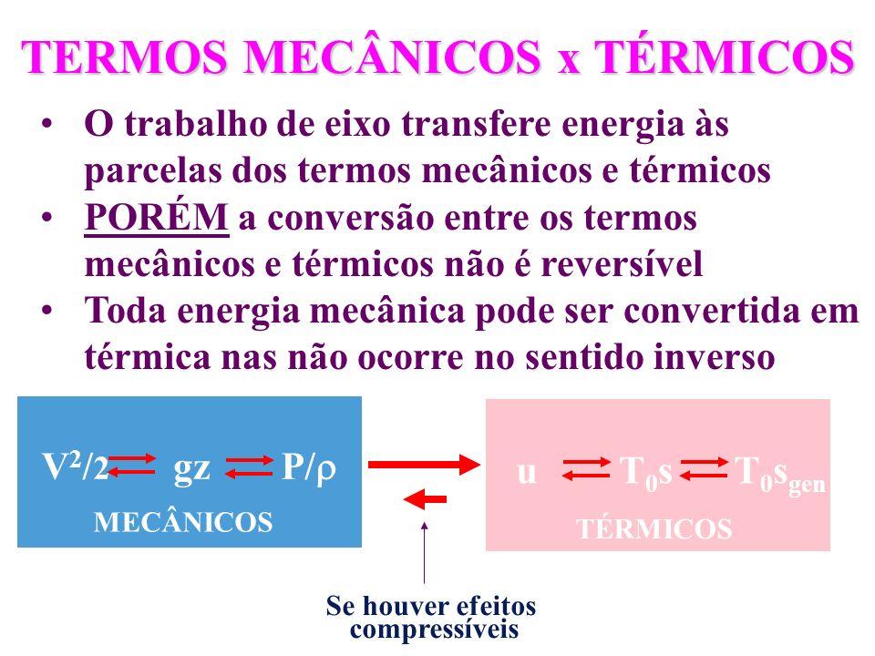 TERMOS MECÂNICOS x TÉRMICOS O trabalho de eixo transfere energia às parcelas dos termos mecânicos e térmicos PORÉM a conversão entre os termos mecânic