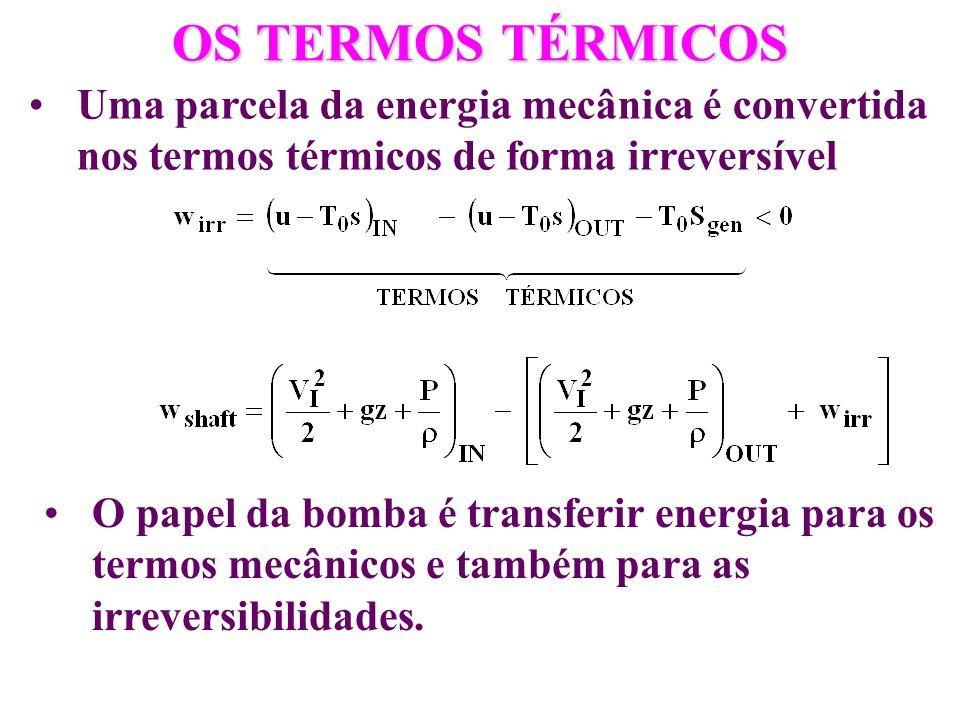 OS TERMOS TÉRMICOS Uma parcela da energia mecânica é convertida nos termos térmicos de forma irreversível O papel da bomba é transferir energia para o