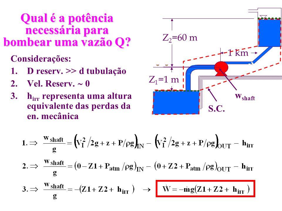 Qual é a potência necessária para bombear uma vazão Q? Considerações: 1.D reserv. >> d tubulação 2.Vel. Reserv. 0 3.h irr representa uma altura equiva