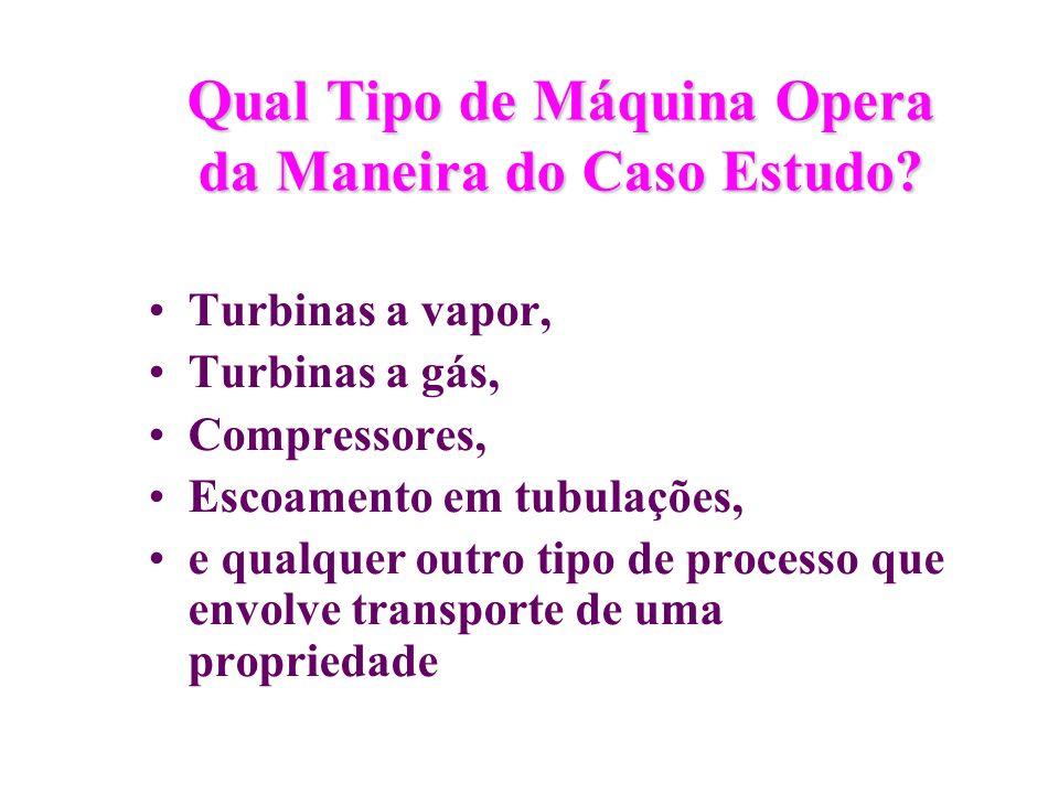 Qual Tipo de Máquina Opera da Maneira do Caso Estudo? Turbinas a vapor, Turbinas a gás, Compressores, Escoamento em tubulações, e qualquer outro tipo