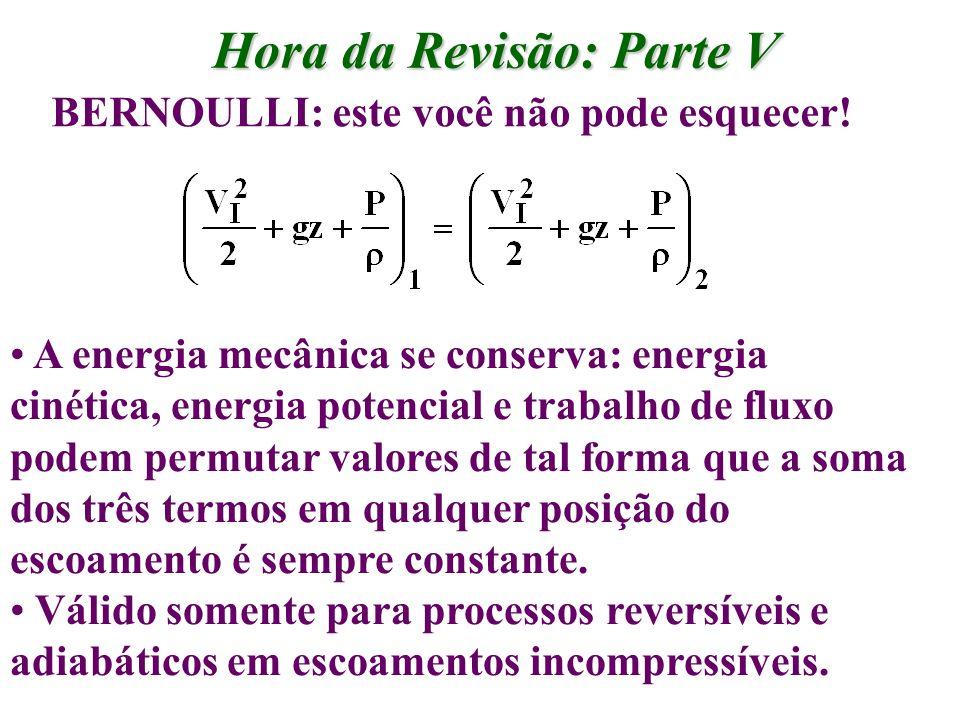 Hora da Revisão: Parte V BERNOULLI: este você não pode esquecer! A energia mecânica se conserva: energia cinética, energia potencial e trabalho de flu