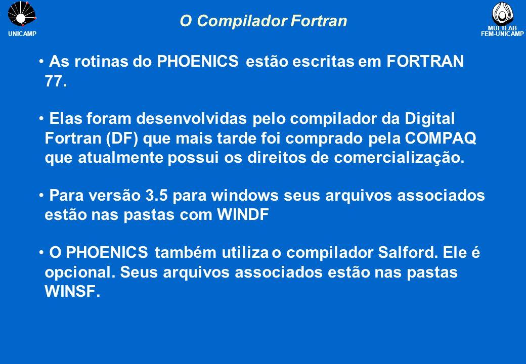MULTLAB FEM-UNICAMP UNICAMP O Compilador Fortran As rotinas do PHOENICS estão escritas em FORTRAN 77. Elas foram desenvolvidas pelo compilador da Digi