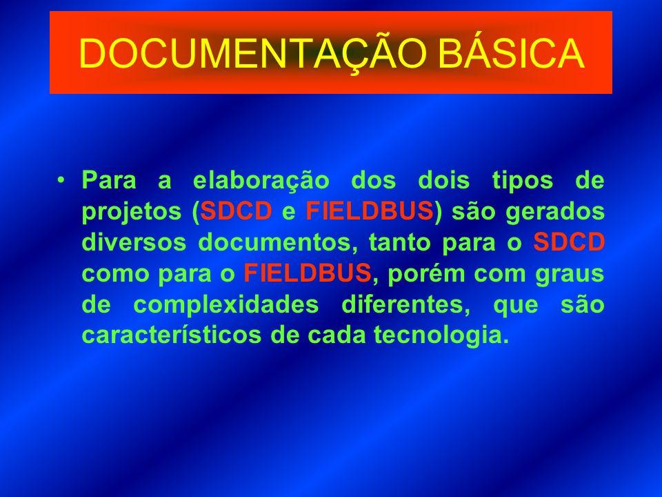 DOCUMENTAÇÃO BÁSICA Para a elaboração dos dois tipos de projetos (SDCD e FIELDBUS) são gerados diversos documentos, tanto para o SDCD como para o FIEL