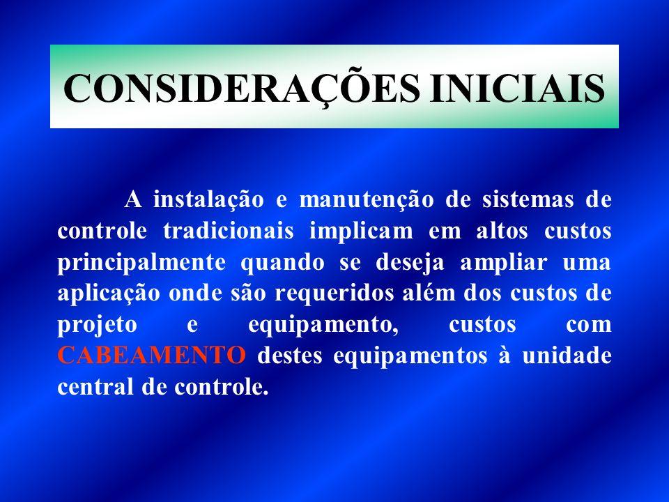 CONSIDERAÇÕES INICIAIS A instalação e manutenção de sistemas de controle tradicionais implicam em altos custos principalmente quando se deseja ampliar