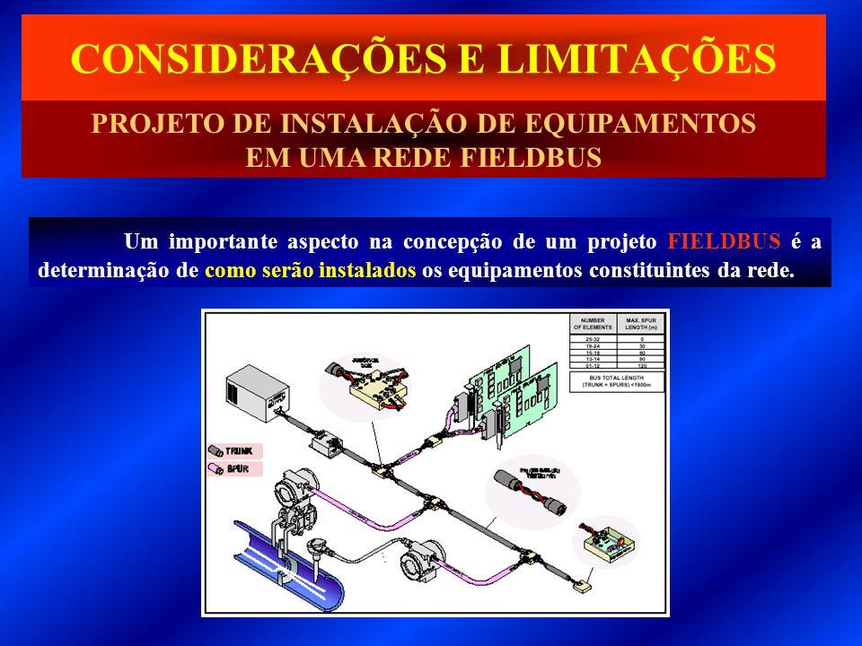 Um importante aspecto na concepção de um projeto FIELDBUS é a determinação de como serão instalados os equipamentos constituintes da rede. CONSIDERAÇÕ