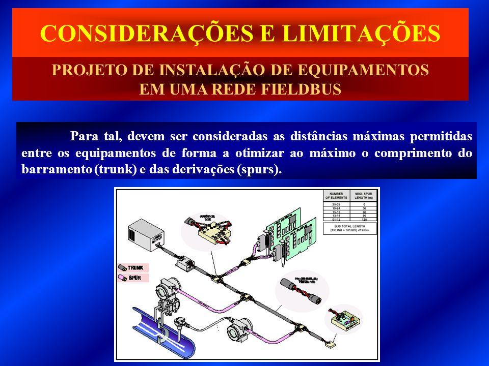 Para tal, devem ser consideradas as distâncias máximas permitidas entre os equipamentos de forma a otimizar ao máximo o comprimento do barramento (tru