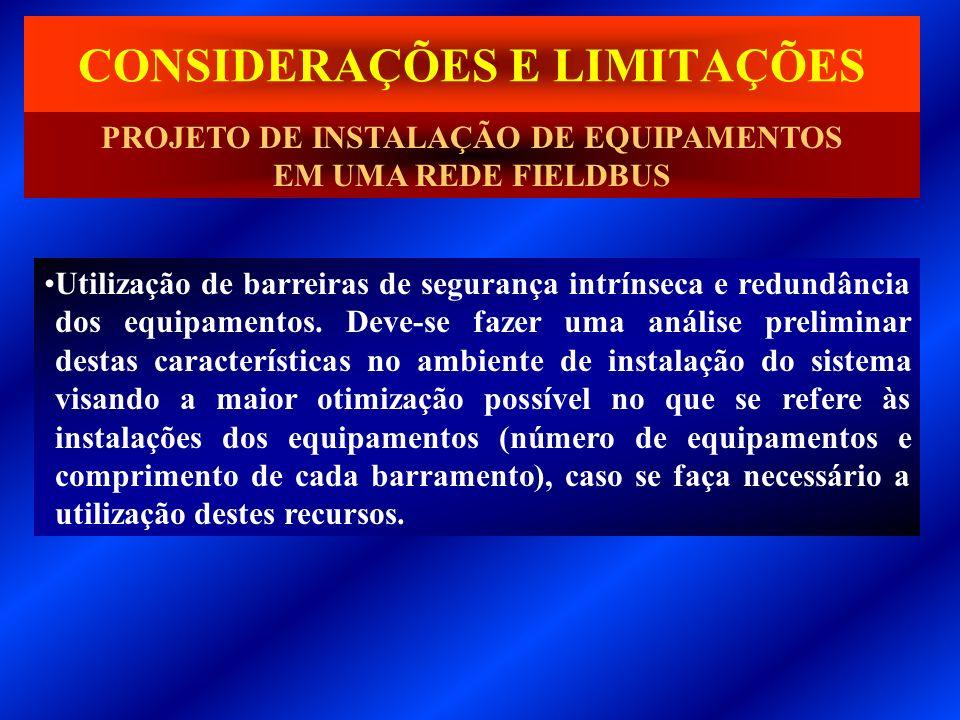 CONSIDERAÇÕES E LIMITAÇÕES Utilização de barreiras de segurança intrínseca e redundância dos equipamentos. Deve-se fazer uma análise preliminar destas