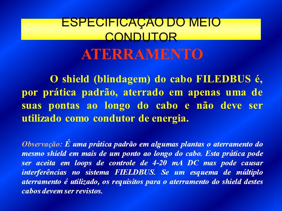 ESPECIFICAÇÃO DO MEIO CONDUTOR O shield (blindagem) do cabo FILEDBUS é, por prática padrão, aterrado em apenas uma de suas pontas ao longo do cabo e n
