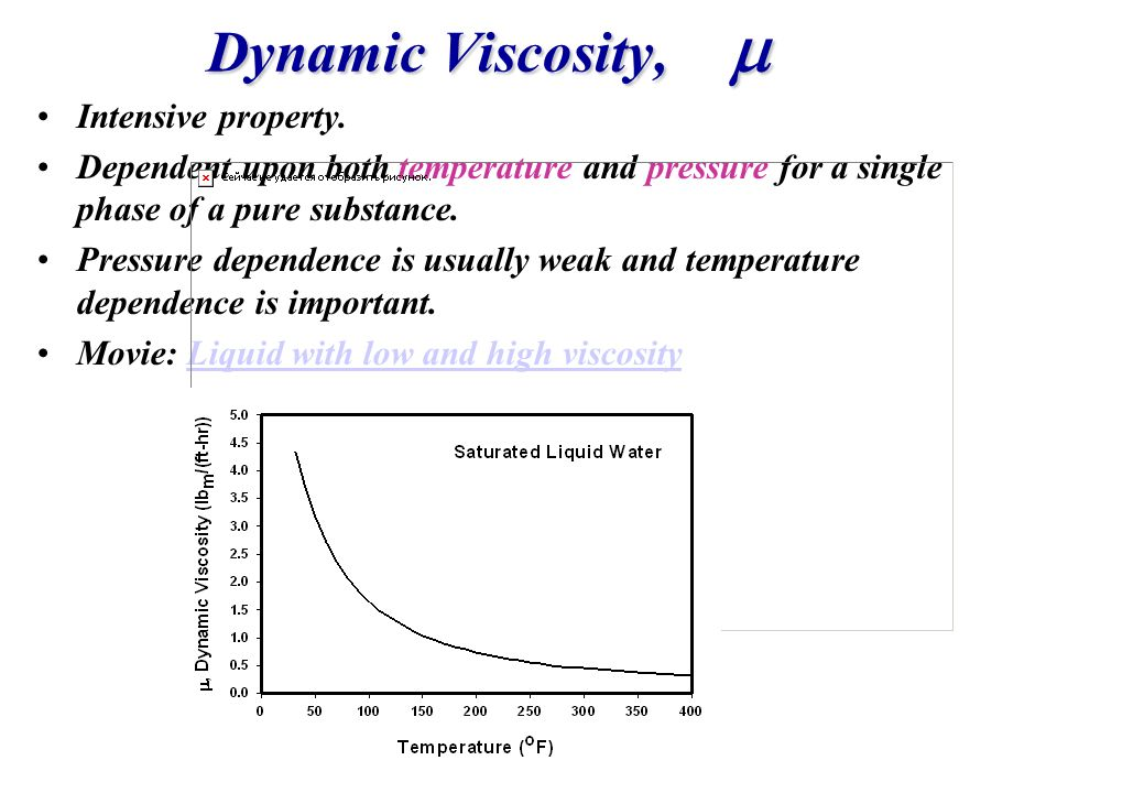 Dynamic Viscosity, Dynamic Viscosity, Intensive property. Dependent upon both temperature and pressure for a single phase of a pure substance. Pressur