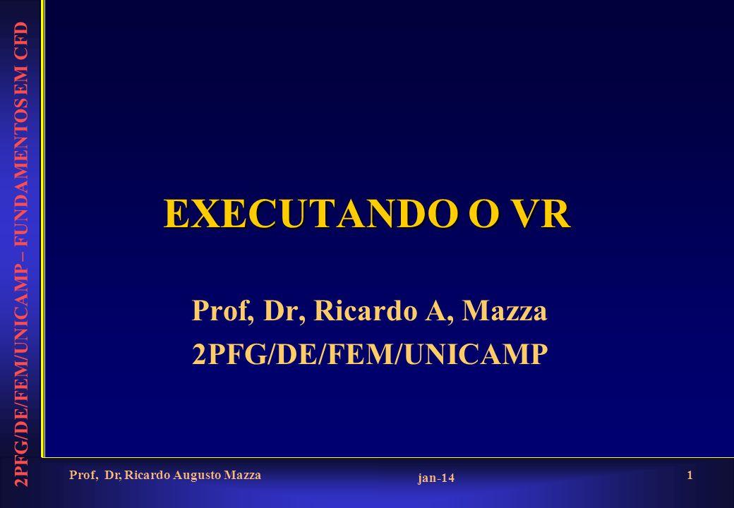 2PFG/DE/FEM/UNICAMP – FUNDAMENTOS EM CFD jan-14 Prof, Dr, Ricardo Augusto Mazza1 EXECUTANDO O VR Prof, Dr, Ricardo A, Mazza 2PFG/DE/FEM/UNICAMP