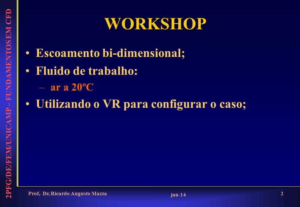 2PFG/DE/FEM/UNICAMP – FUNDAMENTOS EM CFD jan-14 Prof, Dr, Ricardo Augusto Mazza2 WORKSHOP Escoamento bi-dimensional; Fluido de trabalho: – ar a 20ºC Utilizando o VR para configurar o caso;