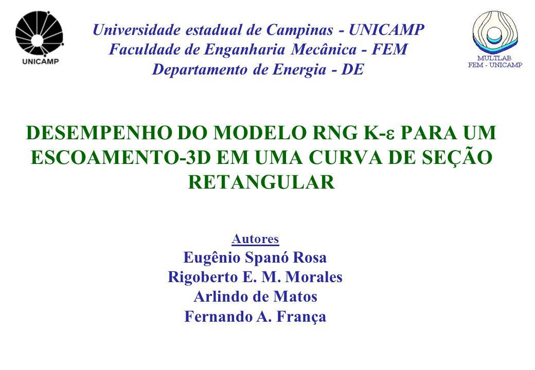 DESEMPENHO DO MODELO RNG K- PARA UM ESCOAMENTO-3D EM UMA CURVA DE SEÇÃO RETANGULAR Autores Eugênio Spanó Rosa Rigoberto E. M. Morales Arlindo de Matos