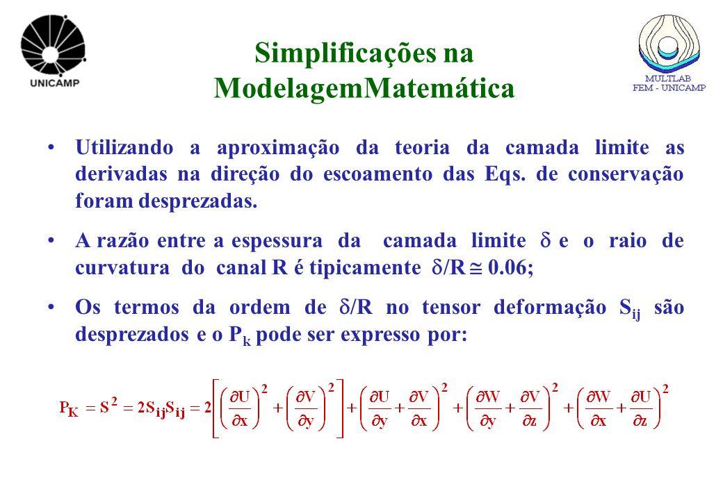 Utilizando a aproximação da teoria da camada limite as derivadas na direção do escoamento das Eqs. de conservação foram desprezadas. A razão entre a e