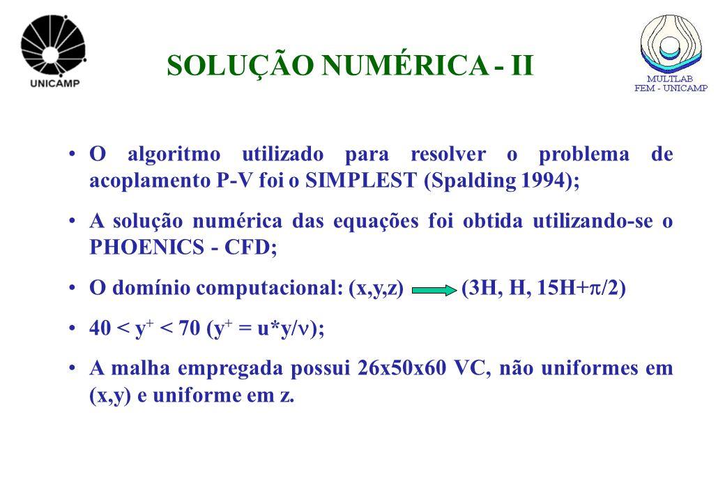 O algoritmo utilizado para resolver o problema de acoplamento P-V foi o SIMPLEST (Spalding 1994); A solução numérica das equações foi obtida utilizand