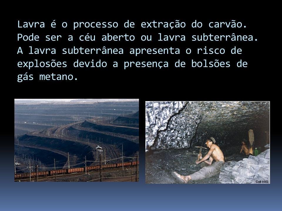 Lavra é o processo de extração do carvão. Pode ser a céu aberto ou lavra subterrânea. A lavra subterrânea apresenta o risco de explosões devido a pres