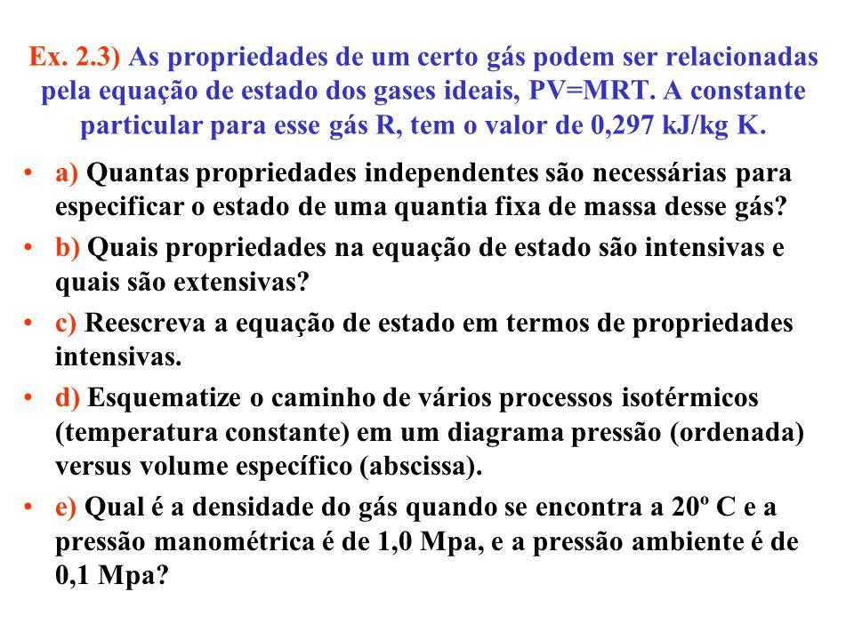 Ex. 2.3) As propriedades de um certo gás podem ser relacionadas pela equação de estado dos gases ideais, PV=MRT. A constante particular para esse gás