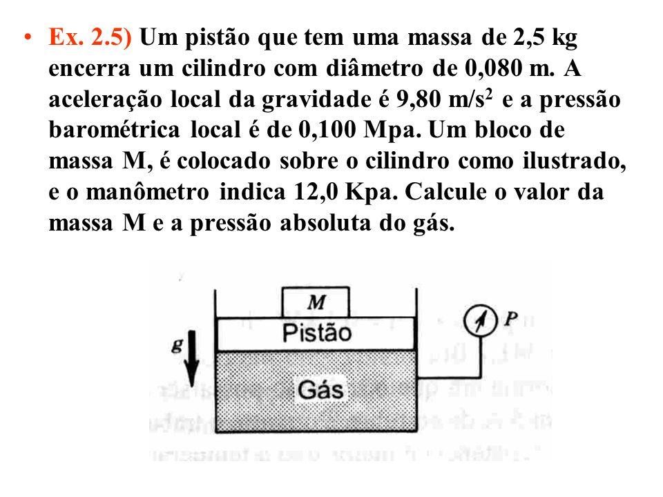 Ex. 2.5) Um pistão que tem uma massa de 2,5 kg encerra um cilindro com diâmetro de 0,080 m. A aceleração local da gravidade é 9,80 m/s 2 e a pressão b