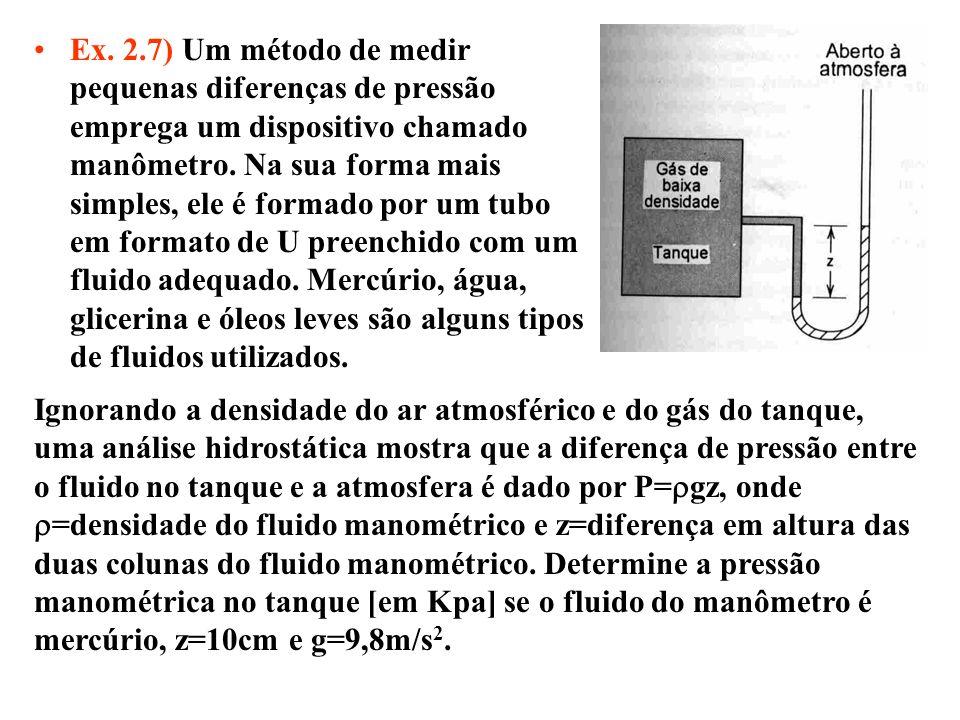 Ex. 2.7) Um método de medir pequenas diferenças de pressão emprega um dispositivo chamado manômetro. Na sua forma mais simples, ele é formado por um t