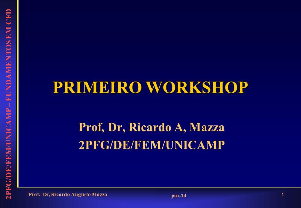 2PFG/DE/FEM/UNICAMP – FUNDAMENTOS EM CFD jan-14 Prof, Dr, Ricardo Augusto Mazza1 PRIMEIRO WORKSHOP Prof, Dr, Ricardo A, Mazza 2PFG/DE/FEM/UNICAMP