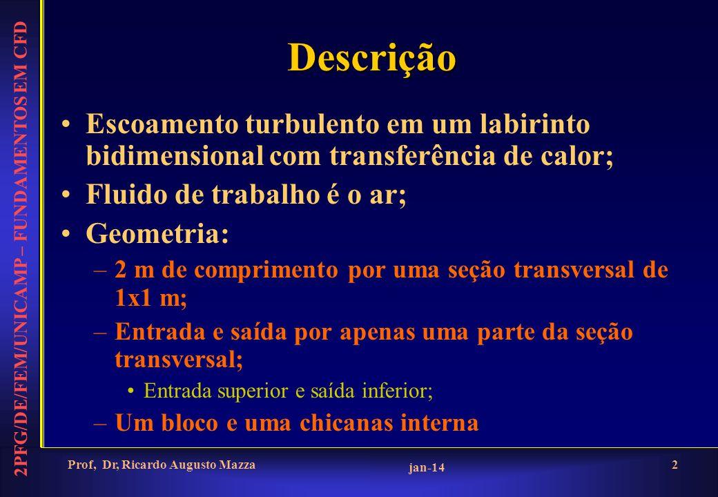 2PFG/DE/FEM/UNICAMP – FUNDAMENTOS EM CFD jan-14 Prof, Dr, Ricardo Augusto Mazza2 Descrição Escoamento turbulento em um labirinto bidimensional com transferência de calor; Fluido de trabalho é o ar; Geometria: –2 m de comprimento por uma seção transversal de 1x1 m; –Entrada e saída por apenas uma parte da seção transversal; Entrada superior e saída inferior; –Um bloco e uma chicanas interna