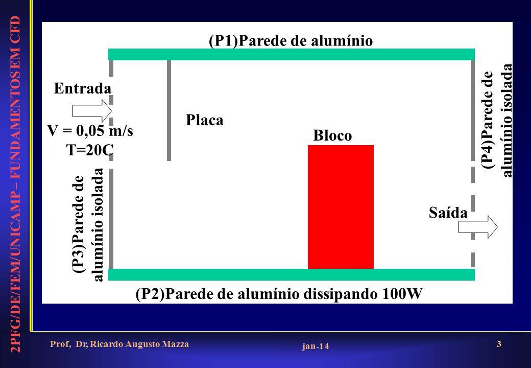 2PFG/DE/FEM/UNICAMP – FUNDAMENTOS EM CFD jan-14 Prof, Dr, Ricardo Augusto Mazza4 Geometria ObjetoPosiçãoDimensão Entrada0,0; 0,0; 0,50,0x1,0x0,45 Saída2,0; 0,0; 0,050,0x1,0x0,45 P10,0; 0,0; 0,952,0x1,0x0,05 P20,0; 0,0; 0,952,0x1,0x0,05 P32,0; 0,0; 0,50,0x1,0x0,5 P40,0; 0,0; 0,50,0x1,0x0,5 Placa0,5; 0,0; 0,30,0x1,0x0,65 Bloco0,1x0,0x0,050,4x1,0x0,65