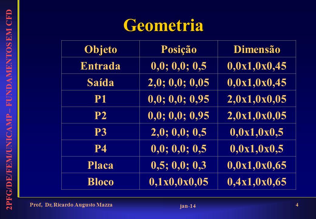 2PFG/DE/FEM/UNICAMP – FUNDAMENTOS EM CFD jan-14 Prof, Dr, Ricardo Augusto Mazza4 Geometria ObjetoPosiçãoDimensão Entrada0,0; 0,0; 0,50,0x1,0x0,45 Saíd