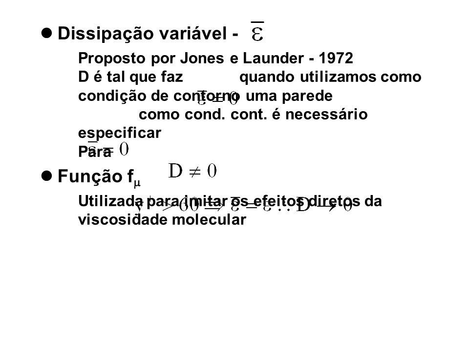 Dissipação variável - Proposto por Jones e Launder - 1972 D é tal que faz quando utilizamos como condição de contorno uma parede como cond. cont. é ne