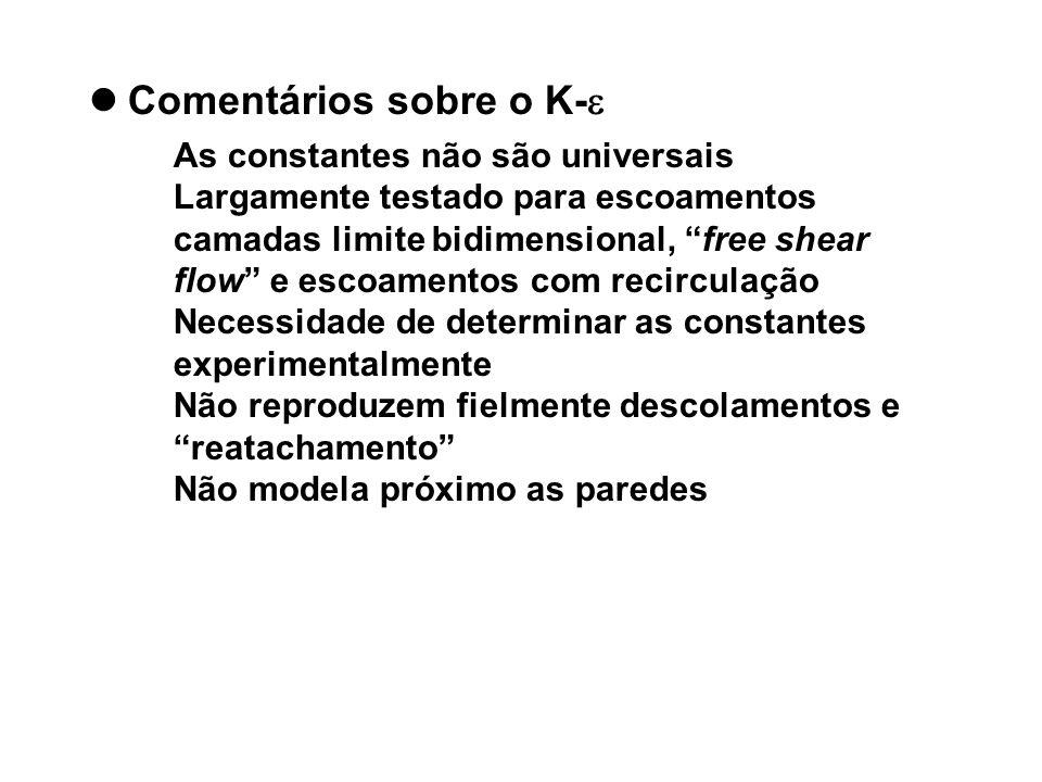Comentários sobre o K- As constantes não são universais Largamente testado para escoamentos camadas limite bidimensional, free shear flow e escoamento