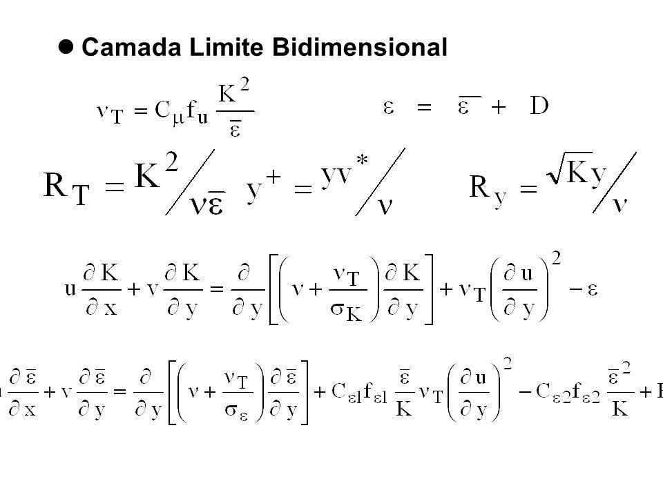 Dissipação variável - Proposto por Jones e Launder - 1972 D é tal que faz quando utilizamos como condição de contorno uma parede como cond.