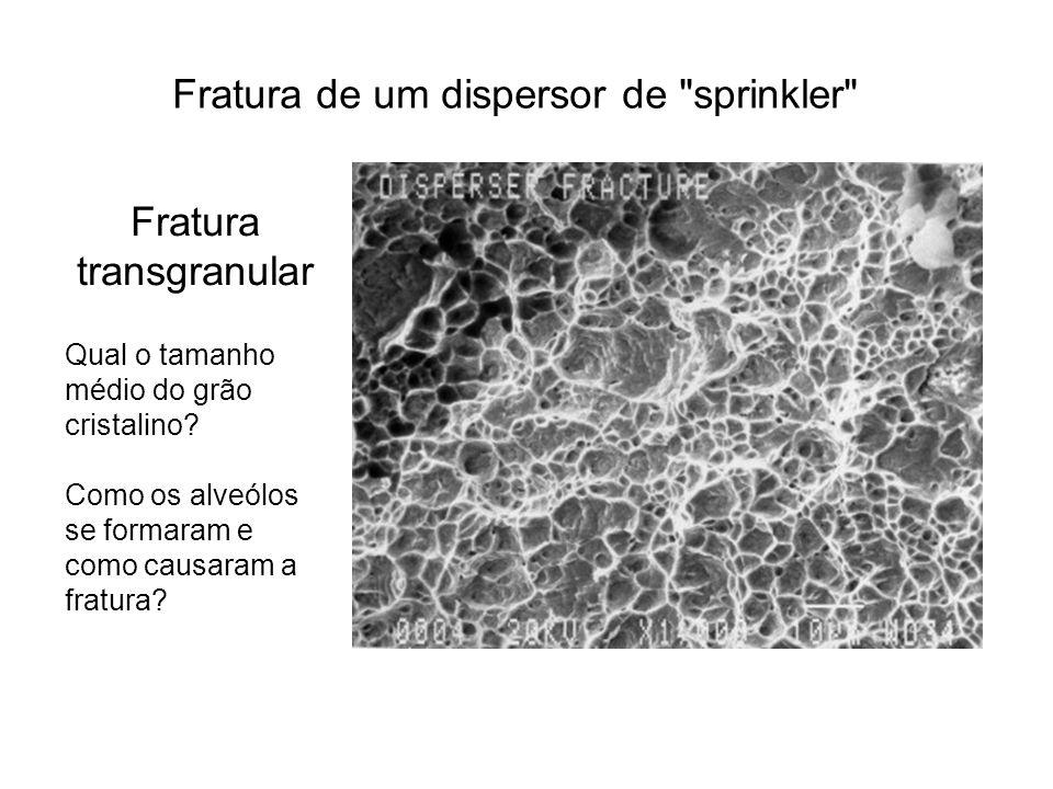 Fratura transgranular Qual o tamanho médio do grão cristalino? Como os alveólos se formaram e como causaram a fratura? Fratura de um dispersor de