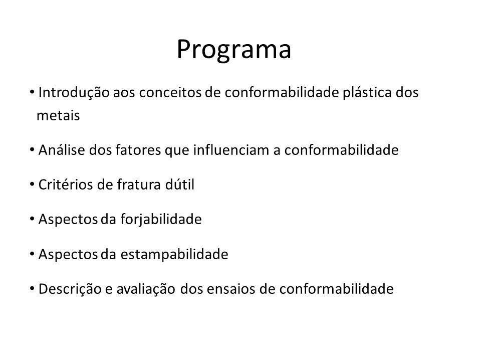 Programa Introdução aos conceitos de conformabilidade plástica dos metais Análise dos fatores que influenciam a conformabilidade Critérios de fratura