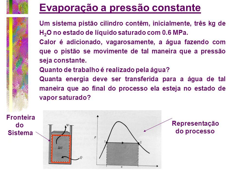 Um sistema pistão cilindro contêm, inicialmente, três kg de H 2 O no estado de líquido saturado com 0.6 MPa. Calor é adicionado, vagarosamente, a água