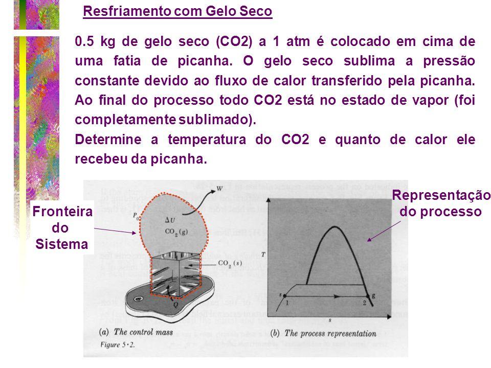 Resfriamento com Gelo Seco 0.5 kg de gelo seco (CO2) a 1 atm é colocado em cima de uma fatia de picanha. O gelo seco sublima a pressão constante devid