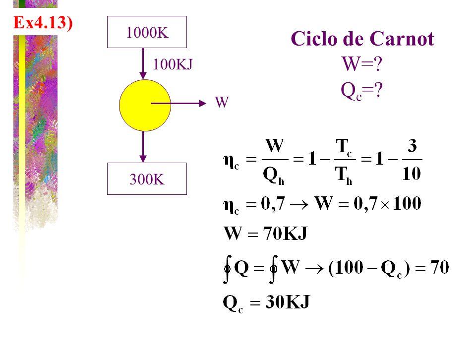 Ex4.13) 1000K 300K W 100KJ Ciclo de Carnot W=? Q c =?