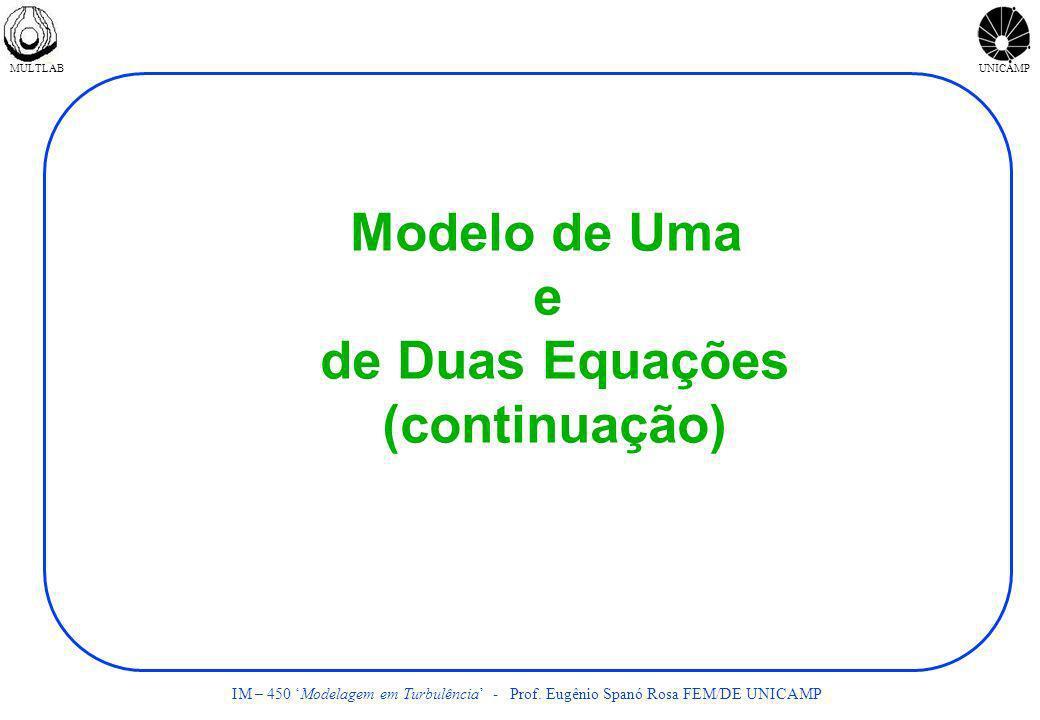 MULTLABUNICAMP IM – 450 Modelagem em Turbulência - Prof. Eugênio Spanó Rosa FEM/DE UNICAMP Modelo de Uma e de Duas Equações (continuação)