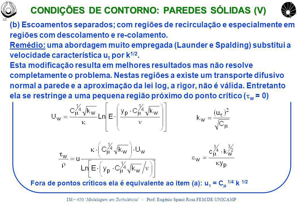 MULTLABUNICAMP IM – 450 Modelagem em Turbulência - Prof. Eugênio Spanó Rosa FEM/DE UNICAMP (b) Escoamentos separados; com regiões de recirculação e es
