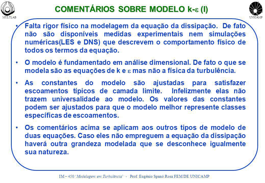 MULTLABUNICAMP IM – 450 Modelagem em Turbulência - Prof. Eugênio Spanó Rosa FEM/DE UNICAMP COMENTÁRIOS SOBRE MODELO k- (I) Falta rigor físico na model