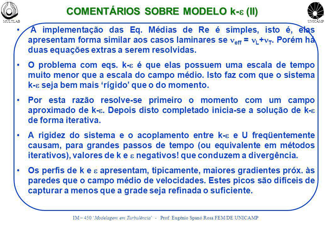 MULTLABUNICAMP IM – 450 Modelagem em Turbulência - Prof. Eugênio Spanó Rosa FEM/DE UNICAMP COMENTÁRIOS SOBRE MODELO k- (II) A implementação das Eq. Mé