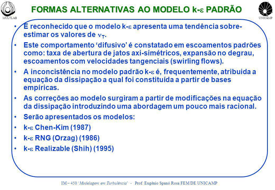 MULTLABUNICAMP IM – 450 Modelagem em Turbulência - Prof. Eugênio Spanó Rosa FEM/DE UNICAMP FORMAS ALTERNATIVAS AO MODELO k- PADRÃO É reconhecido que o