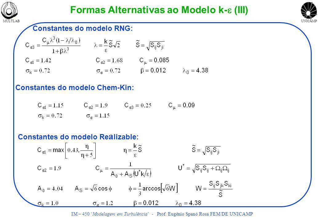 MULTLABUNICAMP IM – 450 Modelagem em Turbulência - Prof. Eugênio Spanó Rosa FEM/DE UNICAMP Formas Alternativas ao Modelo k- (III) Constantes do modelo