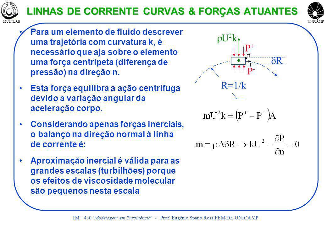 MULTLABUNICAMP IM – 450 Modelagem em Turbulência - Prof. Eugênio Spanó Rosa FEM/DE UNICAMP LINHAS DE CORRENTE CURVAS & FORÇAS ATUANTES Para um element