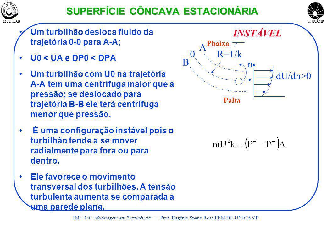 MULTLABUNICAMP IM – 450 Modelagem em Turbulência - Prof. Eugênio Spanó Rosa FEM/DE UNICAMP SUPERFÍCIE CÔNCAVA ESTACIONÁRIA Um turbilhão desloca fluido
