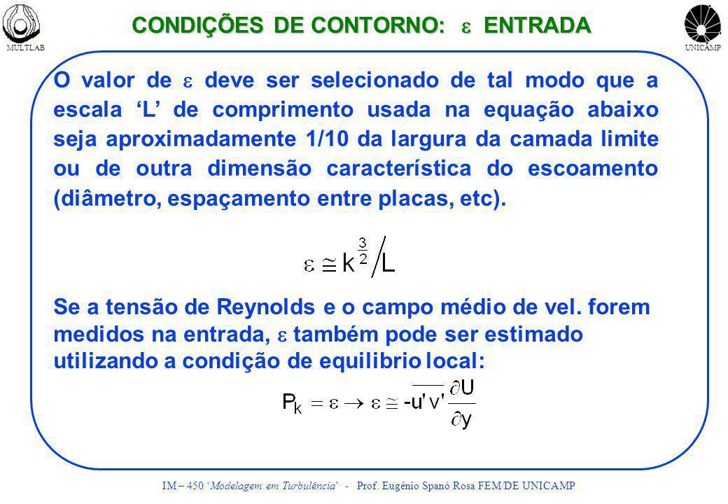 MULTLABUNICAMP IM – 450 Modelagem em Turbulência - Prof. Eugênio Spanó Rosa FEM/DE UNICAMP O valor de deve ser selecionado de tal modo que a escala L