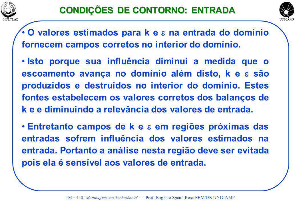 MULTLABUNICAMP IM – 450 Modelagem em Turbulência - Prof. Eugênio Spanó Rosa FEM/DE UNICAMP O valores estimados para k e na entrada do domínio fornecem