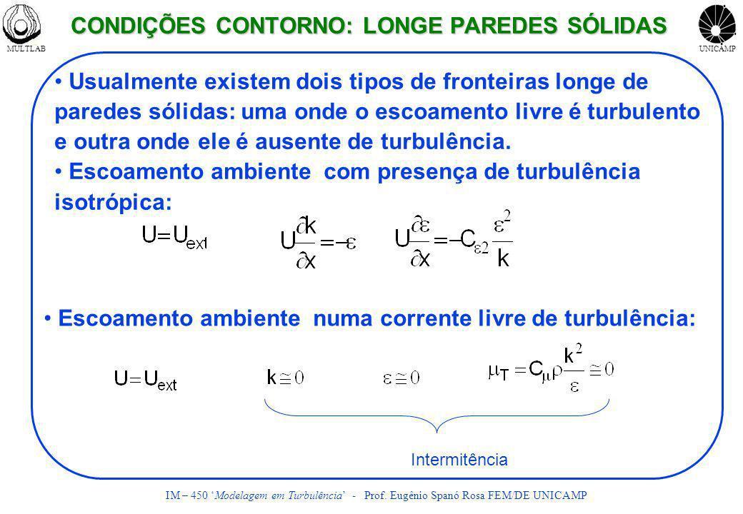 MULTLABUNICAMP IM – 450 Modelagem em Turbulência - Prof. Eugênio Spanó Rosa FEM/DE UNICAMP Intermitência Usualmente existem dois tipos de fronteiras l