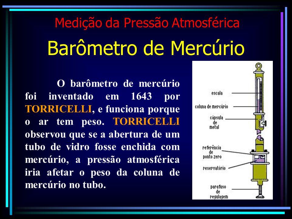 O barômetro de mercúrio foi inventado em 1643 por TORRICELLI, e funciona porque o ar tem peso. TORRICELLI observou que se a abertura de um tubo de vid