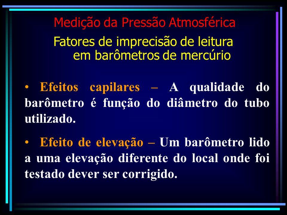 Efeitos capilares – A qualidade do barômetro é função do diâmetro do tubo utilizado. Efeito de elevação – Um barômetro lido a uma elevação diferente d
