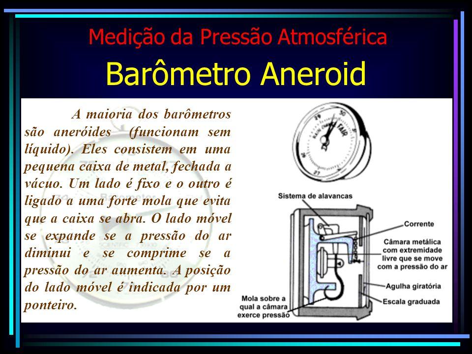 Medição da Pressão Atmosférica Barômetro Aneroid A maioria dos barômetros são aneróides (funcionam sem líquido). Eles consistem em uma pequena caixa d