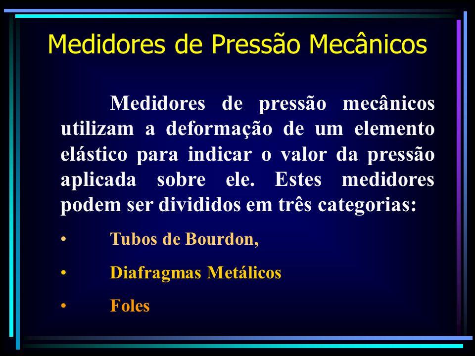 Medidores de Pressão Mecânicos Medidores de pressão mecânicos utilizam a deformação de um elemento elástico para indicar o valor da pressão aplicada s