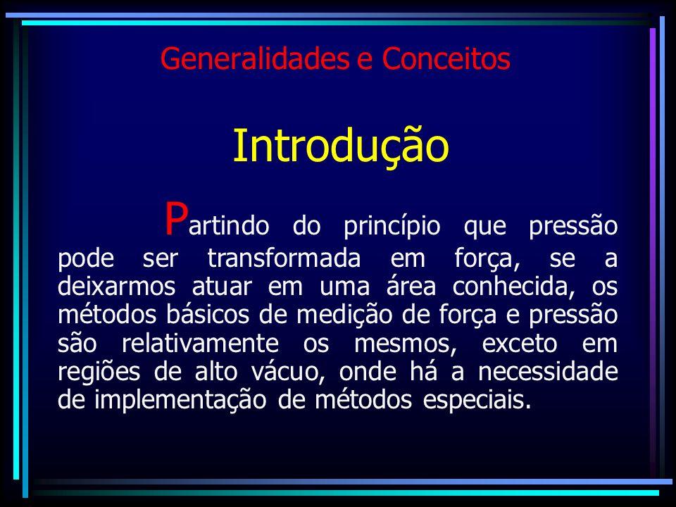 Generalidades e Conceitos Introdução P artindo do princípio que pressão pode ser transformada em força, se a deixarmos atuar em uma área conhecida, os